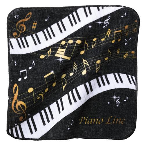 Piano line ハンドタオル(音符) ♪※在庫有りと書いてあっても、お取り寄せ商品は受注後にメーカー注文になります。※☆【音符・小物グッズ-音楽雑貨】【音楽雑貨】  音楽グッズ  <br>バレエ発表会 記念品 プレゼントに最適 ♪
