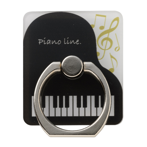 Piano line スマホリング♪※在庫有りと書いてあっても、お取り寄せ商品は受注後にメーカー注文になります。※☆【音符・小物グッズ-音楽雑貨】【音楽雑貨】  音楽グッズ  <br>バレエ発表会 記念品 プレゼントに最適 ♪