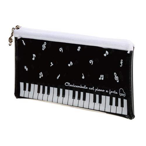 Piano line クリアペンケース♪※在庫有りと書いてあっても、お取り寄せ商品は受注後にメーカー注文になります。※☆【音符・小物グッズ-音楽雑貨】【音楽雑貨】  音楽グッズ  <br>バレエ発表会 記念品 プレゼントに最適 ♪