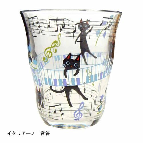 【キュートな黒猫】NEKOにゃ~ごグラス イタリア―ノ 音符☆【プレゼントに最適♪】 【音楽雑貨 ピアノ雑貨】