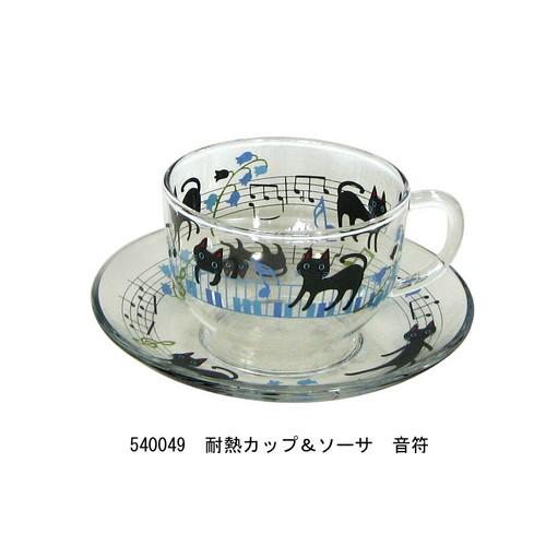 NEKOにゃ~ご 耐熱カップ&ソーサ 音符☆【プレゼントに最適♪】 【音楽雑貨 ピアノ雑貨】